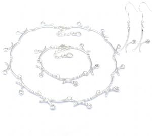 Bridal Prom Zirconia Diamante Fashion Stud Earrings & Bracelet & Collar Necklace Set